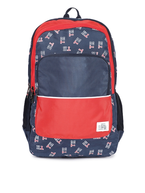 Tommy Hilfiger Unisex Navy Blue & Red Brand Logo Backpack
