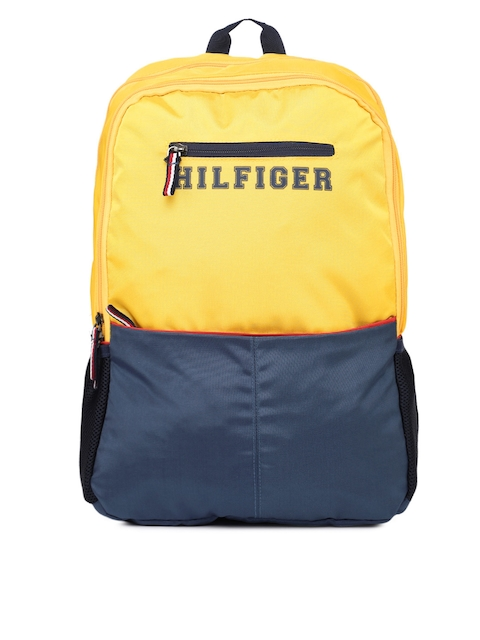Tommy Hilfiger Unisex Yellow & Blue Colourblocked Backpack