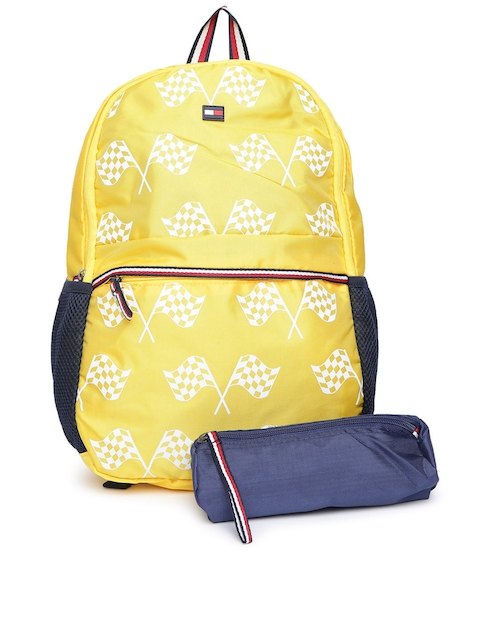 Tommy Hilfiger Unisex Yellow & White Printed Backpack