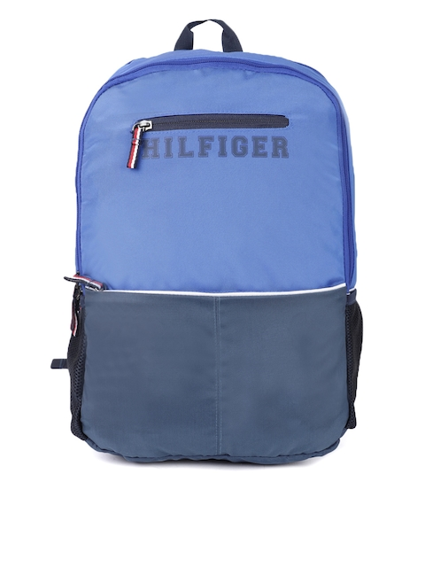 Tommy Hilfiger Unisex Blue Colourblocked Brand Logo Print Caverns Backpack