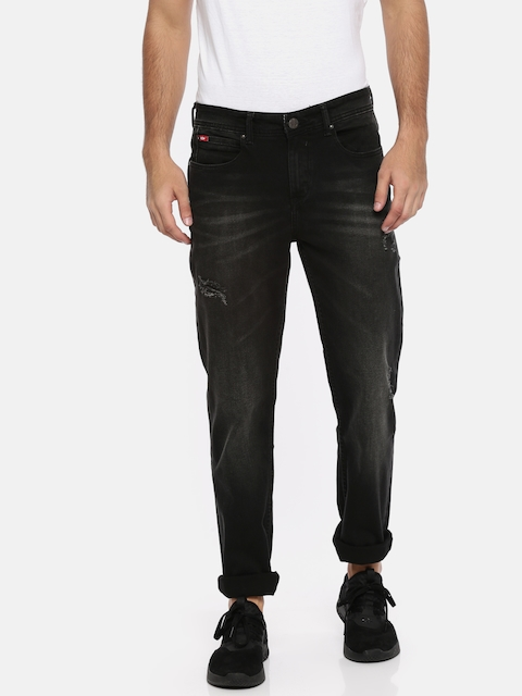 Lee Cooper Men Black Arthur Straight Fit Mid-Rise Clean Look Stretchable Jeans