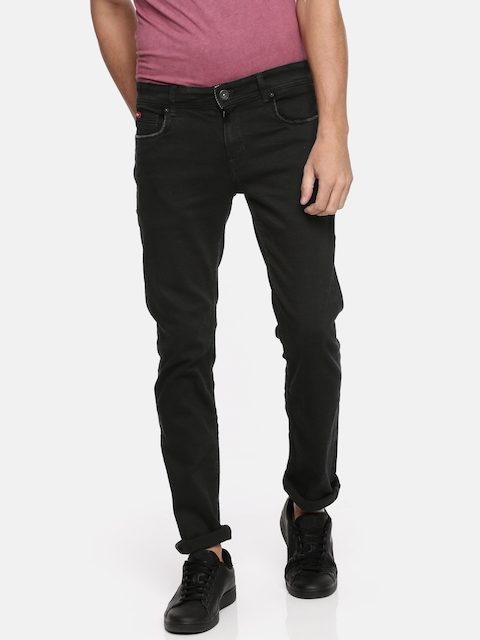 Lee Cooper Men Black Frank Slim Fit Low-Rise Clean Look Stretchable Jeans