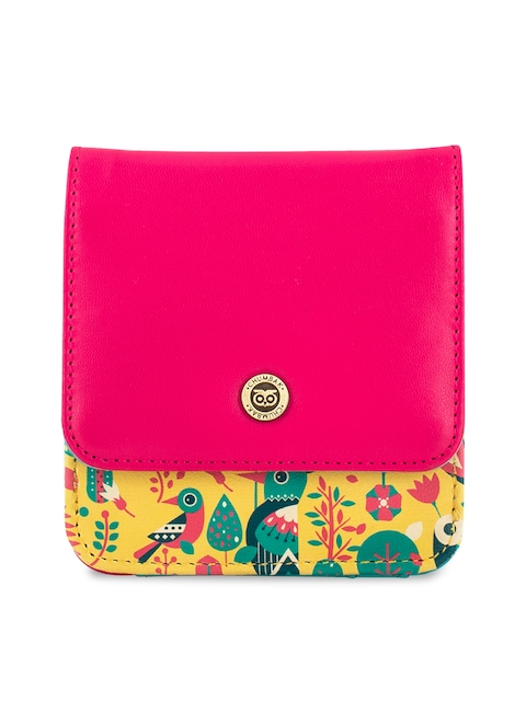Chumbak Women Yellow & Pink Printed Two Fold Wallet