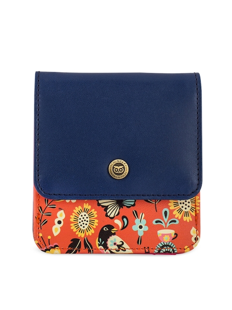 Chumbak Women Orange & Navy Blue Printed Two Fold Wallet