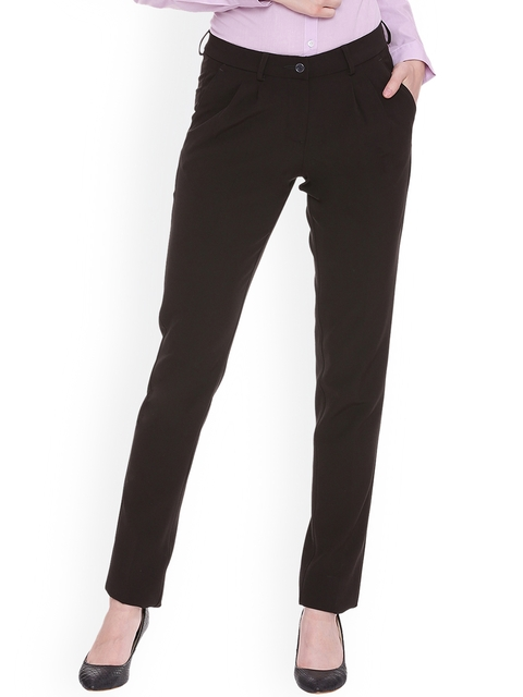 Allen Solly Woman Brown Regular Fit Solid Formal Trousers