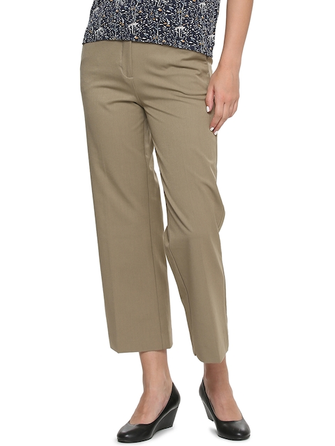 Van Heusen Woman Women Khaki Regular Fit Solid Formal Trousers