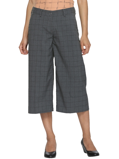 Van Heusen Woman Women Grey Regular Fit Checked Culottes