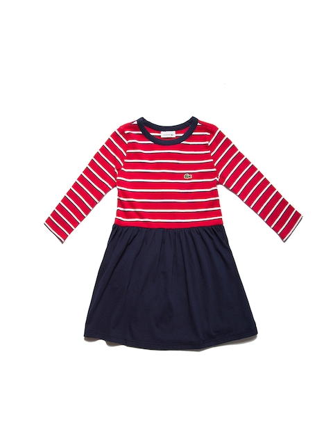 Lacoste Girls Red & Navy Blue Striped Fit and Flare Dress