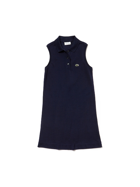 Lacoste Girls Blue Solid Shirt Dress
