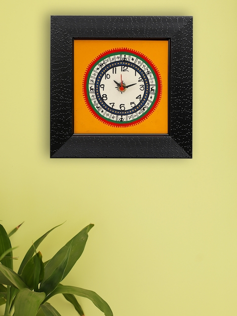 ExclusiveLane Yellow Hand Painted Square Printed Analogue 23 cm x 23 cm Wall Clock