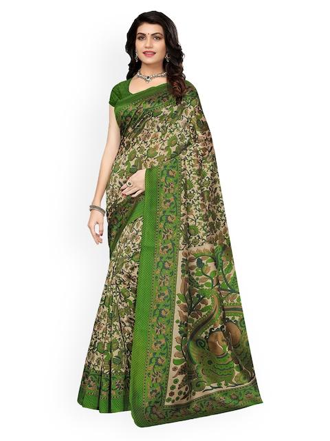 Ishin Beige & Green Poly Silk Printed Saree