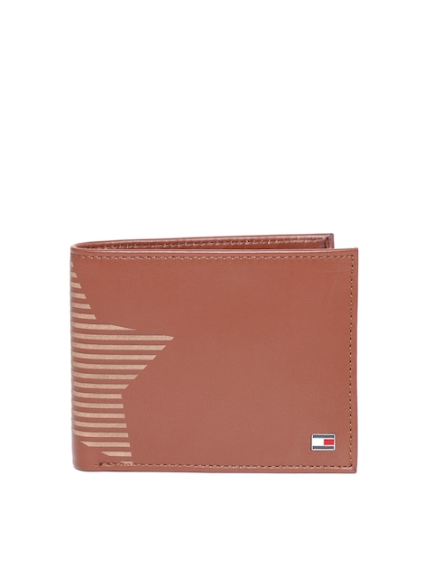 Tommy Hilfiger Men Brown Leather Printed Detail Two Fold Wallet