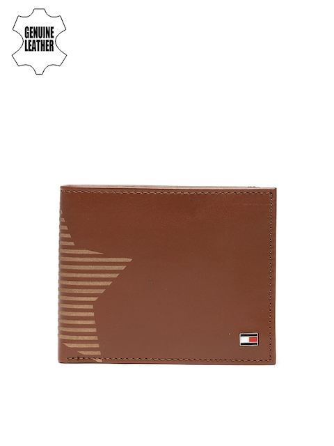 Tommy Hilfiger Men Tan Printed Genuine Leather Two Fold Wallet