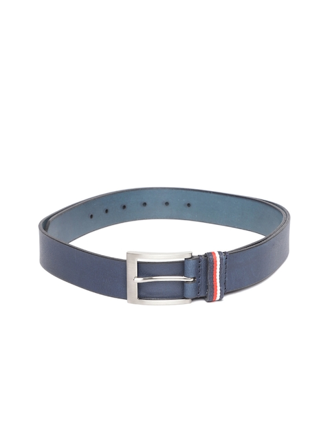 Tommy Hilfiger Men Navy Leather Solid Belt