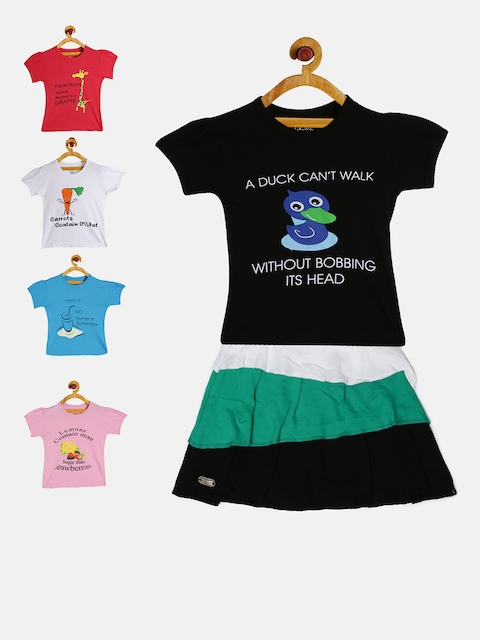 GKIDZ Girls Pack of 5 Printed T-Shirts & Skirt