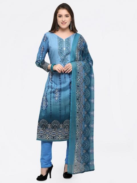 Inddus Blue Cotton Blend Unstitched Dress Material