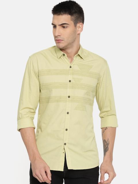 Wrangler Men Beige Slim Fit Striped Casual Shirt