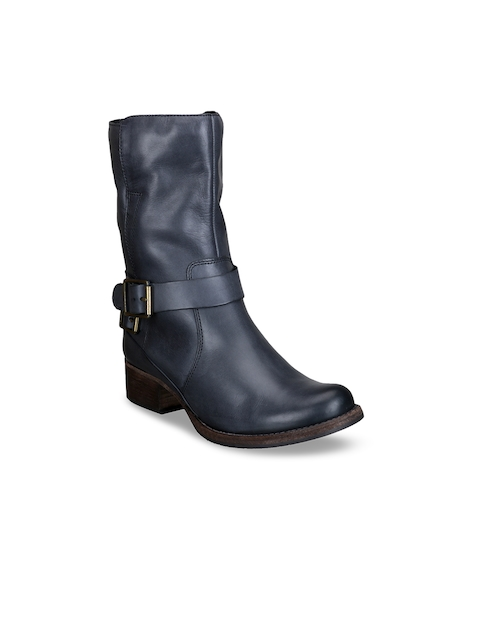 Clarks Women Charcoal Flat Leather Boots