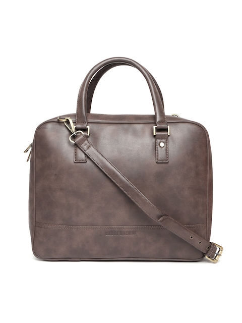 Gauge Machine Unisex Brown Solid Laptop Bag with Sling Strap