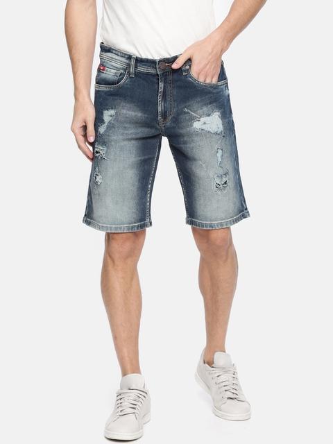 Lee Cooper Men Blue Washed Denim Shorts