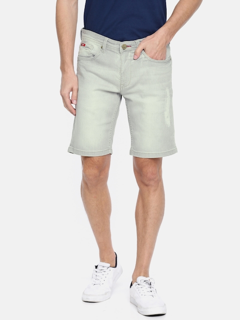 Lee Cooper Men Grey Washed Denim Shorts