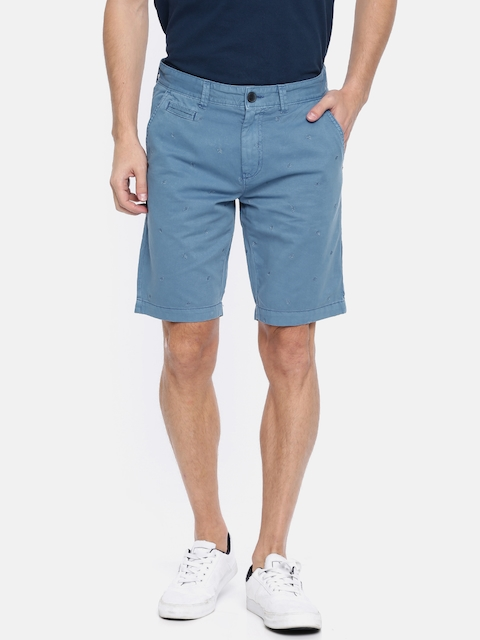 Lee Cooper Men Blue Solid Chino Shorts