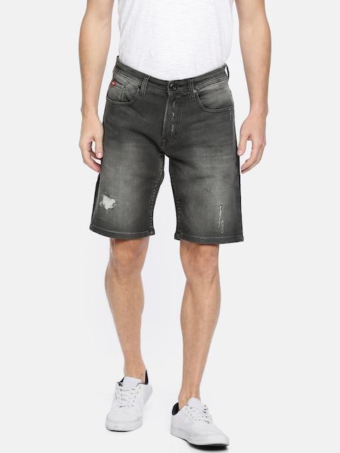 Lee Cooper Men Black Solid Mildly Distressed Regular Fit Denim Shorts