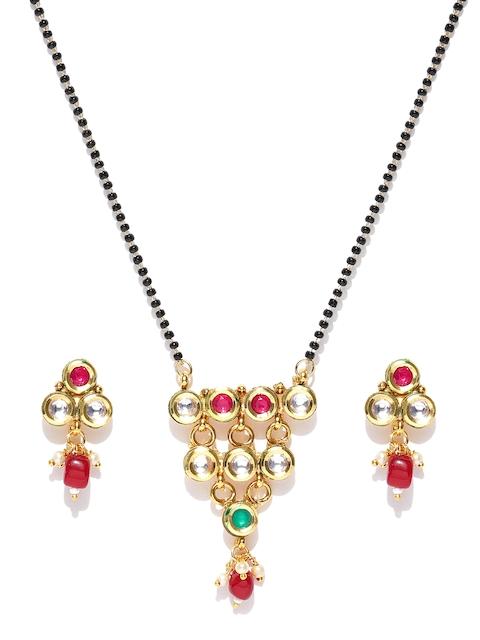 Priyaasi Black & Pink Gold-Plated Beaded Kundan-Studded Mangalsutra with Earrings