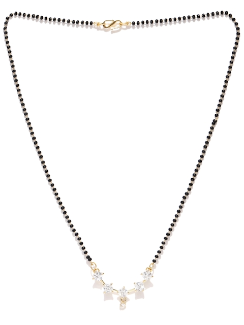 Priyaasi Black Gold-Plated Beaded & Stone-Studded Mangalsutra