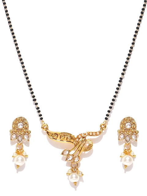 Priyaasi Black & Off-White Gold-Plated Beaded Mangalsutra with Earrings