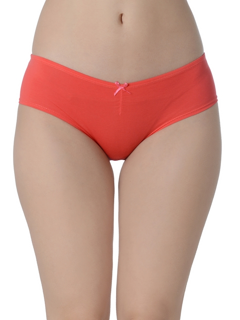 Da Intimo Coral Red Pack of 2 Solid Hipster Briefs DIU240M