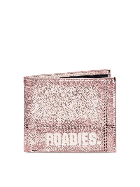 Justanned Men Beige Solid Two Fold Wallet