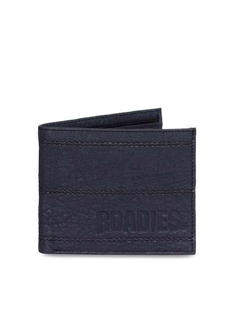 Justanned Men Black Solid Two Fold Wallet