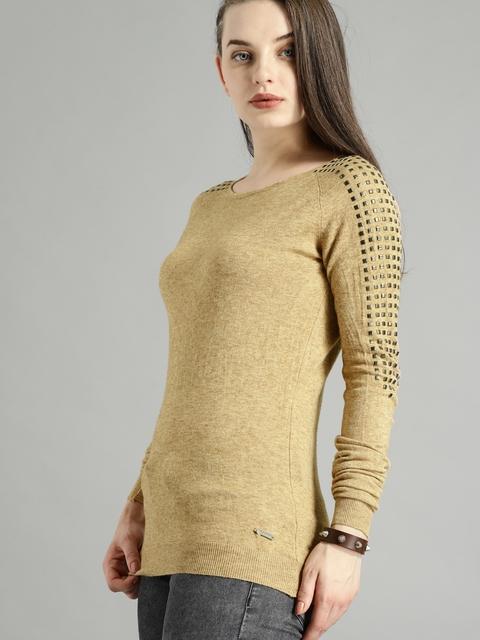 Roadster Women Beige Solid Pullover