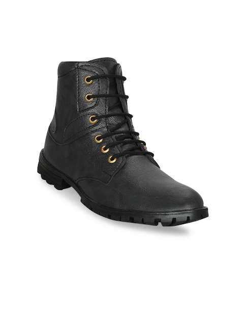Kielz Men Black Solid Synthetic High-Top Flat Boots