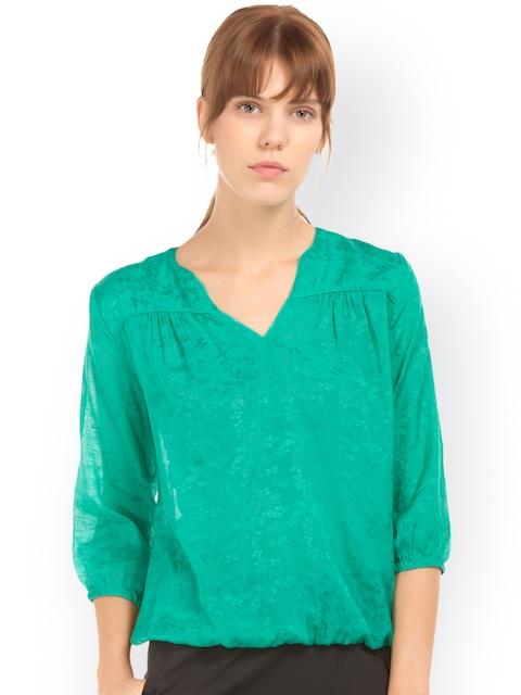 Arrow Woman Green Self Design Blouson Top