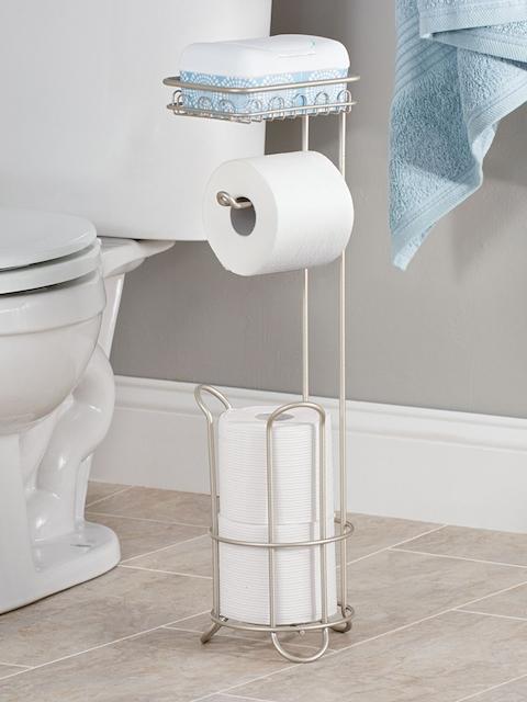 INTERDESIGN Silver-Toned Toilet Brush Holder