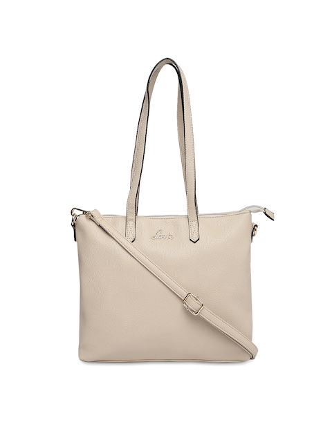 Lavie Beige Solid Handheld Bag