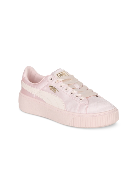 Puma Girls Peach-Coloured Basket Platform Tween Jr Shoes