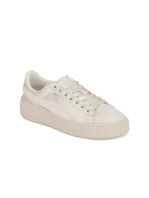 Puma Girls Off-White Basket Platform Tween Jr Shoes