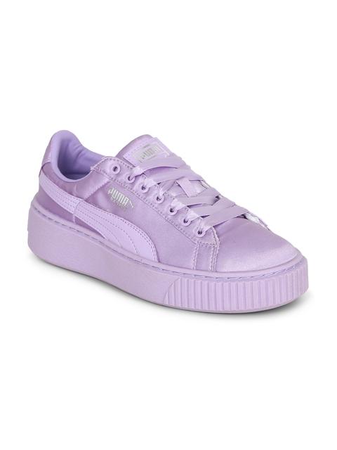 Puma Girls Purple Basket Platform Tween Jr Shoes