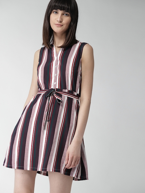 Tommy Hilfiger Women Navy Blue & White Striped Fit and Flare Dress