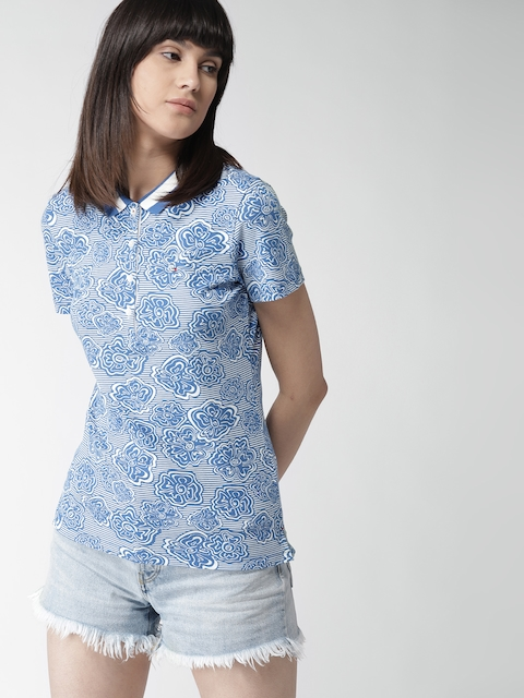 Tommy Hilfiger Women Blue & White Printed Polo Collar T-shirt