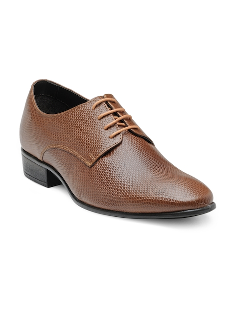 Franco Leone Men Tan Formal Leather Derby Shoes