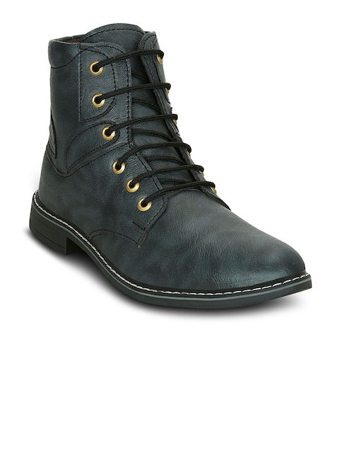 Get Glamr Men Green Solid Synthetic Leather High-Top Flat Boots