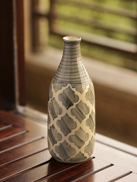ExclusiveLane Grey Moroccan Handpainted Decorative Vase