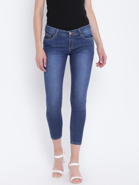 Monte Carlo Women Blue Skinny Fit Low-Rise Clean Look Stretchable Cropped Jeans