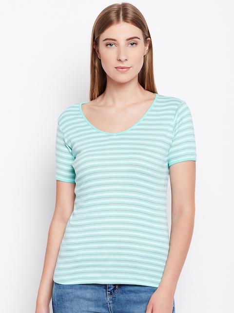 Monte Carlo Women Sea Green & Off-White Striped V-Neck T-shirt