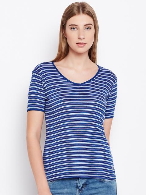Monte Carlo Women Blue Striped V-Neck T-shirt