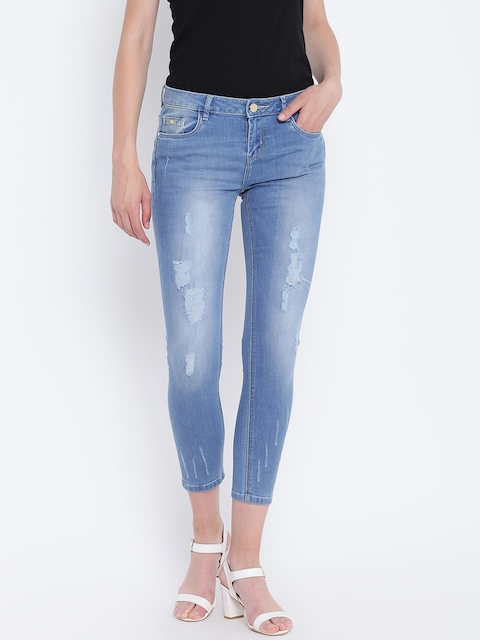 Monte Carlo Women Blue Skinny Fit Mid-Rise Low Distress Stretchable Cropped Jeans